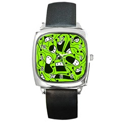 Playful abstract art - green Square Metal Watch