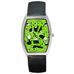 Playful abstract art - green Barrel Style Metal Watch