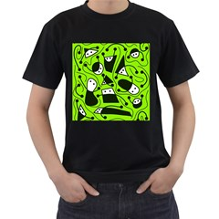 Playful abstract art - green Men s T-Shirt (Black) (Two Sided)