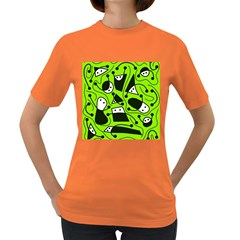Playful abstract art - green Women s Dark T-Shirt