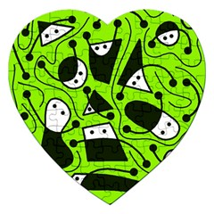 Playful abstract art - green Jigsaw Puzzle (Heart)