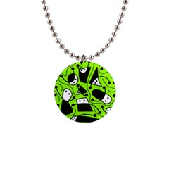 Playful abstract art - green Button Necklaces