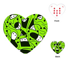 Playful abstract art - green Playing Cards (Heart)