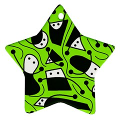 Playful abstract art - green Star Ornament (Two Sides)