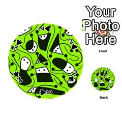 Playful abstract art - green Playing Cards 54 (Round)