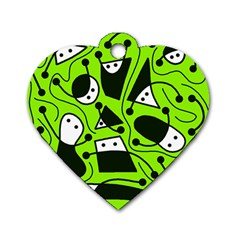 Playful abstract art - green Dog Tag Heart (Two Sides)