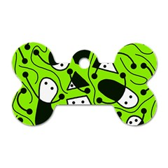 Playful abstract art - green Dog Tag Bone (One Side)