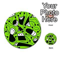 Playful abstract art - green Multi-purpose Cards (Round)