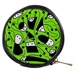 Playful abstract art - green Mini Makeup Bags