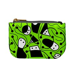 Playful abstract art - green Mini Coin Purses
