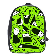 Playful abstract art - green School Bags(Large)