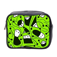 Playful abstract art - green Mini Toiletries Bag 2-Side