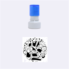 Playful abstract art - green Rubber Round Stamps (Small)