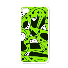 Playful abstract art - green Apple iPhone 4 Case (White)