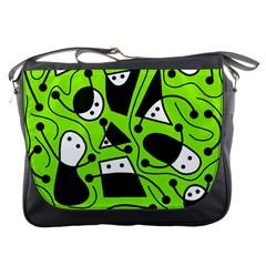 Playful abstract art - green Messenger Bags