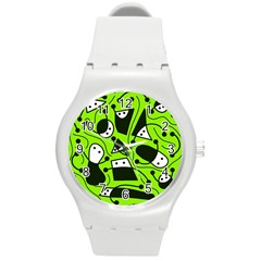 Playful abstract art - green Round Plastic Sport Watch (M)