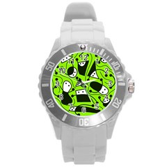 Playful abstract art - green Round Plastic Sport Watch (L)