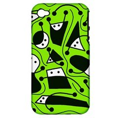 Playful abstract art - green Apple iPhone 4/4S Hardshell Case (PC+Silicone)