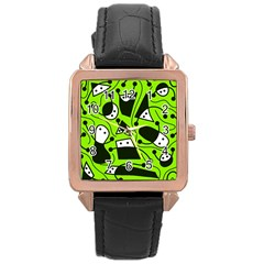 Playful abstract art - green Rose Gold Leather Watch
