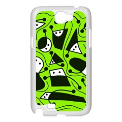 Playful abstract art - green Samsung Galaxy Note 2 Case (White)