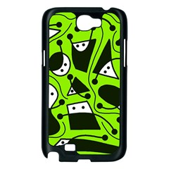 Playful abstract art - green Samsung Galaxy Note 2 Case (Black)