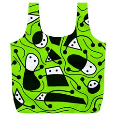Playful abstract art - green Full Print Recycle Bags (L)