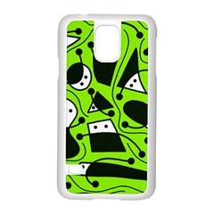 Playful abstract art - green Samsung Galaxy S5 Case (White)