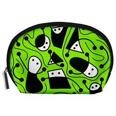 Playful abstract art - green Accessory Pouches (Large)