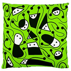 Playful abstract art - green Large Flano Cushion Case (One Side)