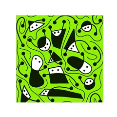 Playful abstract art - green Small Satin Scarf (Square)
