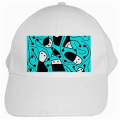 Playful abstract art - cyan White Cap