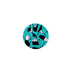 Playful abstract art - cyan 1  Mini Magnets