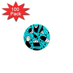 Playful abstract art - cyan 1  Mini Magnets (100 pack)
