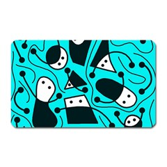 Playful abstract art - cyan Magnet (Rectangular)