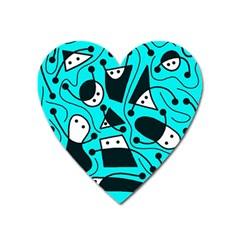 Playful abstract art - cyan Heart Magnet