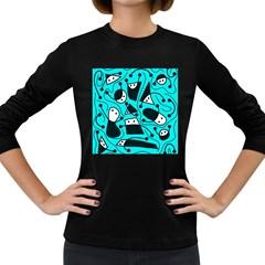 Playful abstract art - cyan Women s Long Sleeve Dark T-Shirts