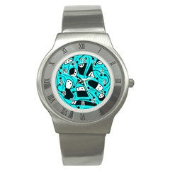 Playful abstract art - cyan Stainless Steel Watch