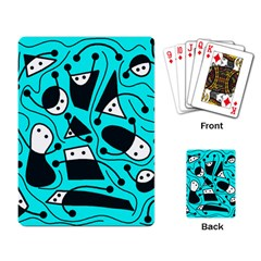 Playful abstract art - cyan Playing Card