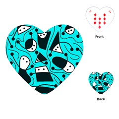 Playful abstract art - cyan Playing Cards (Heart)