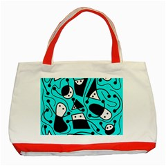 Playful abstract art - cyan Classic Tote Bag (Red)