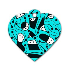 Playful abstract art - cyan Dog Tag Heart (One Side)