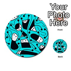 Playful abstract art - cyan Multi-purpose Cards (Round)