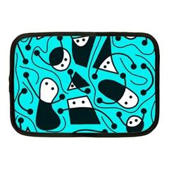 Playful abstract art - cyan Netbook Case (Medium)