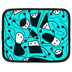 Playful abstract art - cyan Netbook Case (Large)