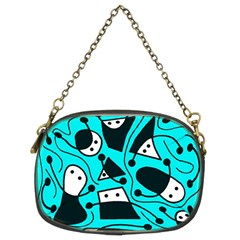 Playful abstract art - cyan Chain Purses (Two Sides)