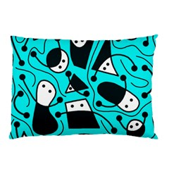 Playful abstract art - cyan Pillow Case