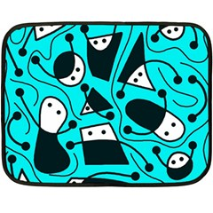 Playful abstract art - cyan Fleece Blanket (Mini)