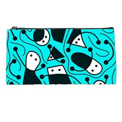 Playful abstract art - cyan Pencil Cases