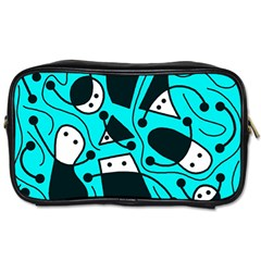 Playful abstract art - cyan Toiletries Bags 2-Side