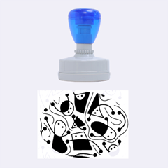 Playful abstract art - cyan Rubber Oval Stamps